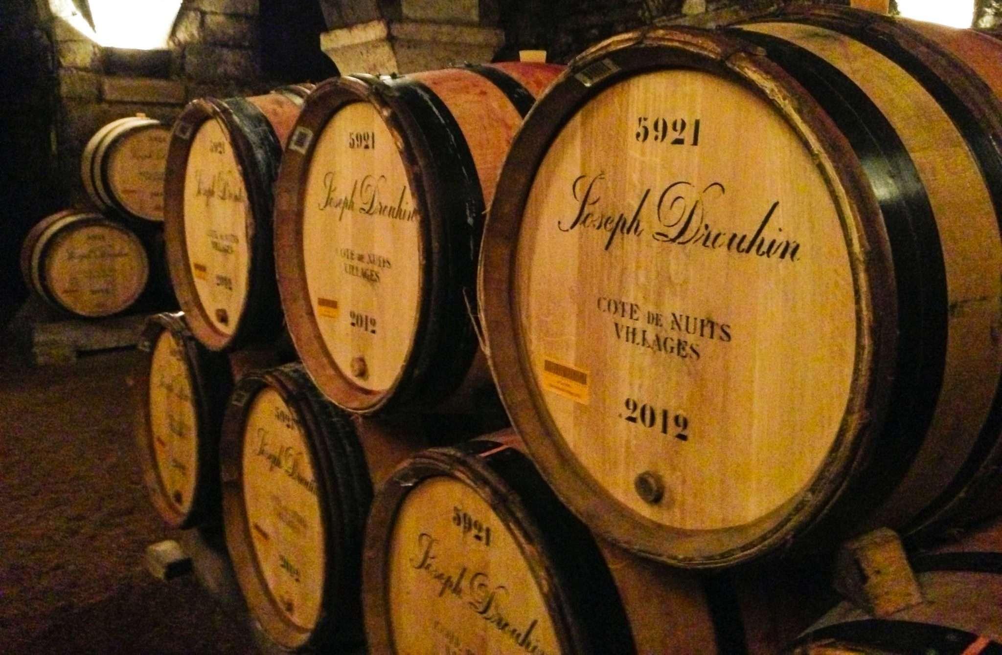 Oak barrels at Joseph Drouhin, Burgundy, France