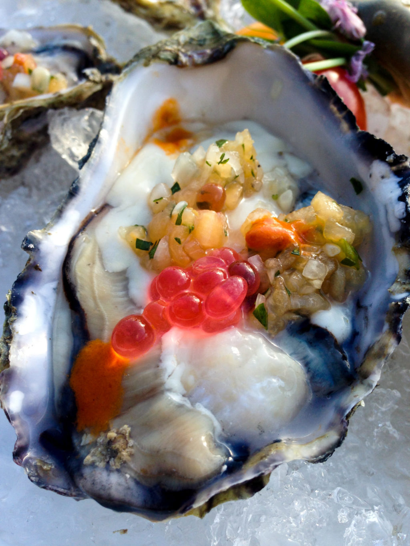 Oysters on the half shell at Mica Restaurant, Spirit Ridge at Nk'Mip Resort. Photo by Gloria J. Chang.