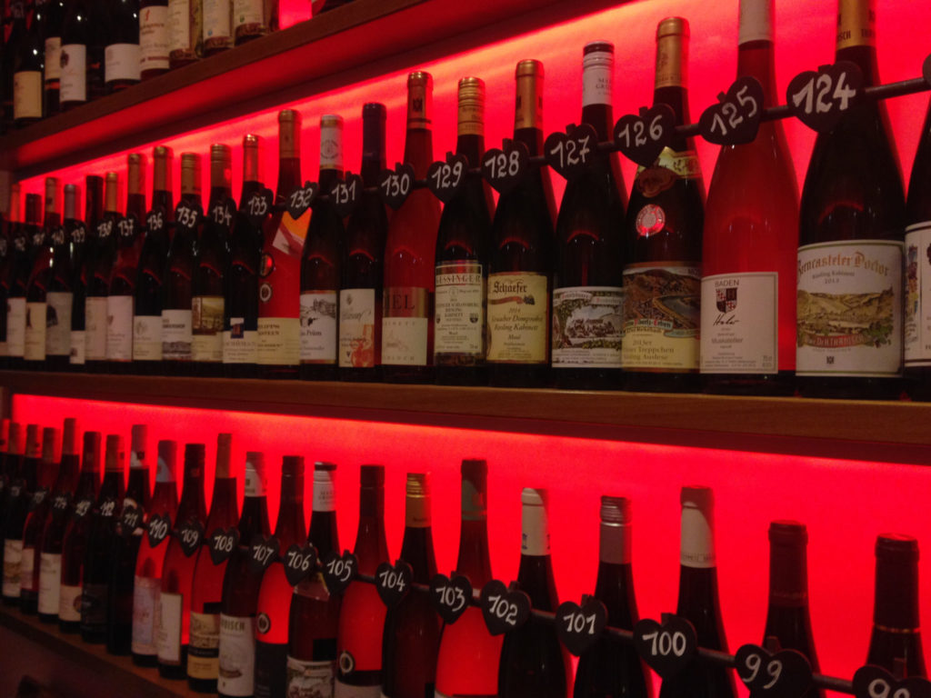 The Wall of Wine at Hotel Zeltinger Hof. Photo by Gloria J. Chang.